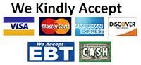 we accept visa mastercard am discover ebt